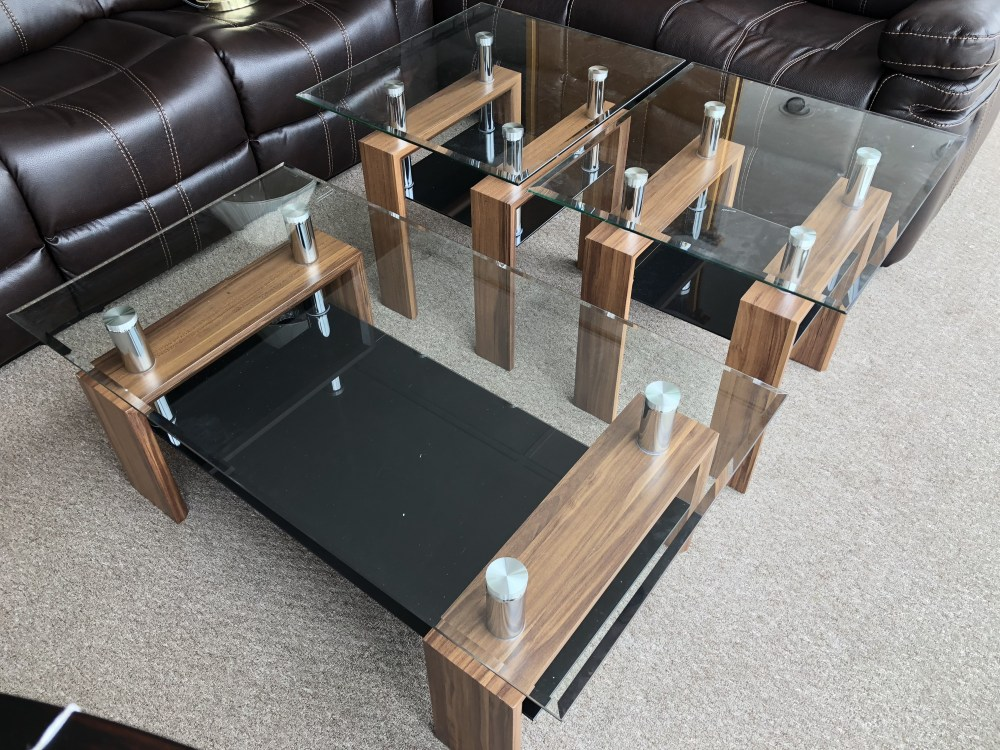 living room glass top 3 piece coffee table set